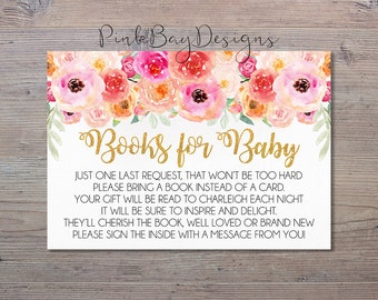 Books For Baby Insert Card, Baby Shower Printable, Watercolor Floral Baby Shower, Books For Baby, Floral Baby Shower