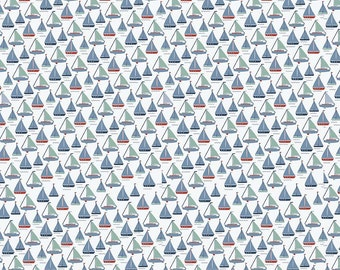White Sailboat By the Sea Riley Blake Fabric by the Yard