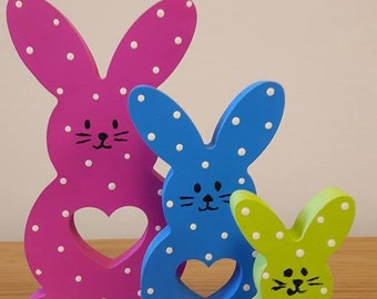 Wooden hand painted bunny family