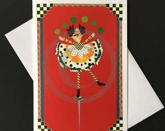 Encouragement Card- Girl juggling on a pin