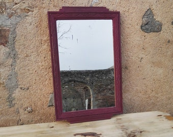 Lisa - New art mirror painted in Burgundy Red