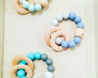 BPA Free Silicone Teething Ring Rattle