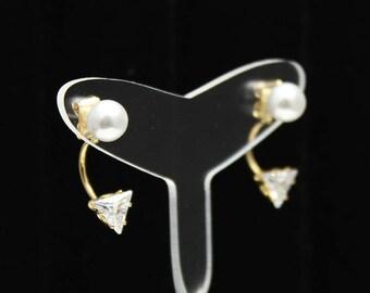 SALE ITEM!!! Pearl Triangle Crystal earrings Jackets