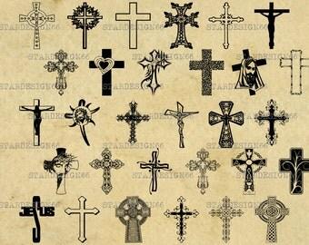 Digital SVG PNG JPG cross vector, jesus christ, religious symbols, silhouette, clipart, instant download