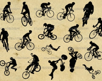 Digital SVG PNG JPG, Cycling, bikers, bmx rider, bicycles, stunts, sport, silhouette, vector, clipart, instant download