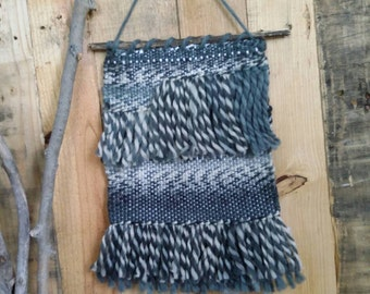 Hand woven wall hanging made with 100% pure wool yarn