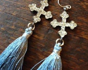 Bluish silver silk tassel earrings with Italian rhinestone crosses.