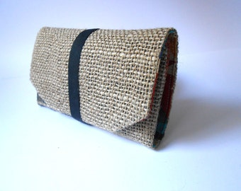 Tobacco - unique piece - recycled burlap canvas Pocket-