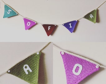 Personalised crocheted bunting
