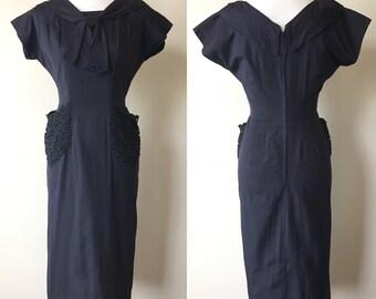 1950s Navy Blue Wiggle Dress