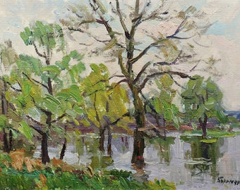 VINTAGE SPRING LANDSCAPE, Original Oil Painting by Soviet Ukrainian artist M.Borymchuk 1970s Impressionist art, Forest landscape, Riverscape