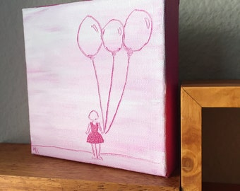 Girl with Balloons Sketch Painting