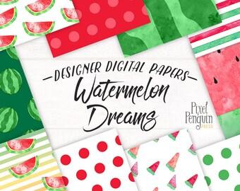 Watercolor Summer Digital Paper Pack, Watermelon Scrapbook Paper, Watercolor Fruit, Instant Download Print, Set of 10,  Polka Dot Paper