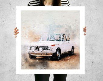 BMW, 2002 S14 Evo, auto classic, sportcar, printing art prints, canvas art personalized, wall prints for living room, old vintage cars
