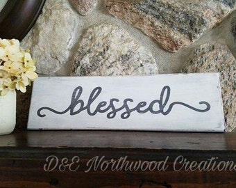 Homemade Blessed Rustic Wood Sign