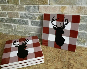"Handmade ""Deer"" Drink Coasters"