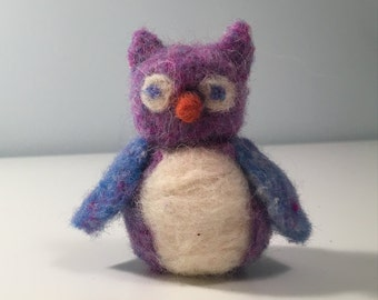 Cute Blue, Purple, and White Needle Felted Owl with an Orange Beak - Felted Owl - Decorative Owl, Toy, Figure -Waldorf Toys - Fiber Art