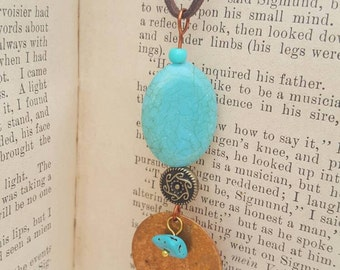 Customizable stamped copper and turquoise necklace