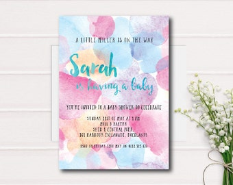 Watercolour Baby Shower Invitation. Printable invitations, Watercolour Background Baby Shower Invite, Pink and Blue Baby Shower, Oh Boy,