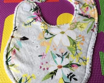 Baby Bib - Spring Floral - Baby Shower Gift - Cotton Velcro Bib