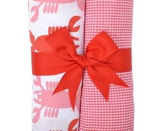 Monogrammed Lobster Love Burp Cloth