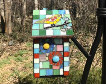 Multi-Colored Stained Glass Mosaic Birdhouse with Chimney