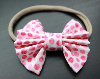 Pink Polka dot Fan Bow