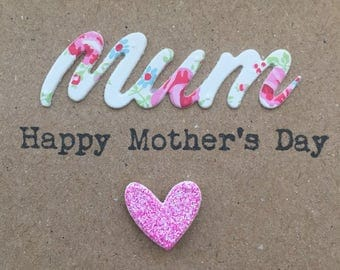 Mothers Day card. Handmade. Mum. Mothering Sunday.Heart.