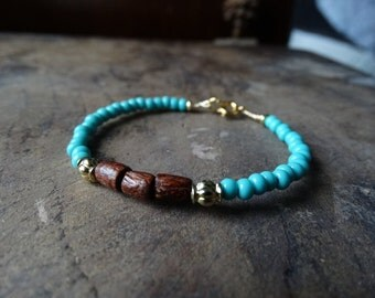 Beaded turquoise and brown bracelet