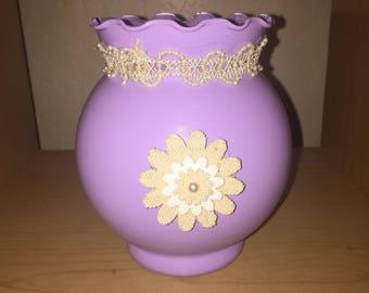 Purple burlap vase