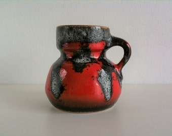 Iconic vase, fat lava, red, black and white, 70s, vintage mid century
