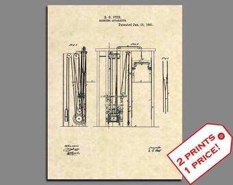 Patent Prints - 1861 Otis Elevator Patent Art - Vintage Elevator Patent Print - Elevator Art Patent Poster Wall Art - Patent Poster - 277
