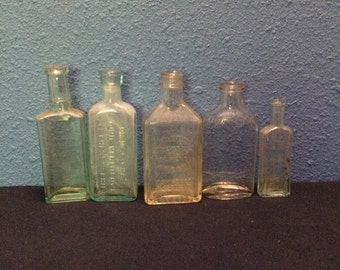 Vintage Clear Glass Patent Medicine and Bluing Bottles, Assortment of Five