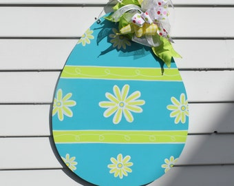 Daisy Easter Egg Door Hanger, Easter Door Decor, Easter Egg Door Hanger, Blue, Yellow, Lime, Flower, Glitter