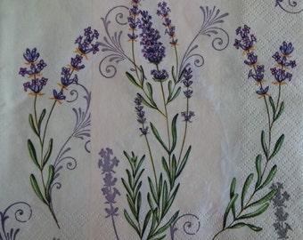 2 x Lavender Napkin, Napkin For Decoupage, Collage Paper, Lavender Motif, Decoupage Paper, Scrapbooking Paper, Printed Napkin (LAVENDER1)
