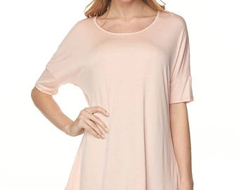 Blush Pink Tunic Piko Sleeve Sharkbite Shirt LaudaLeigh
