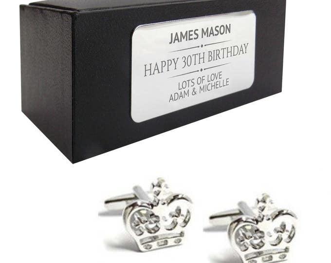 Royal crown prince CUFFLINKS 30th, 40th, 50th, 60th, 70th birthday gift, presentation box personalised ENGRAVED plate - 214