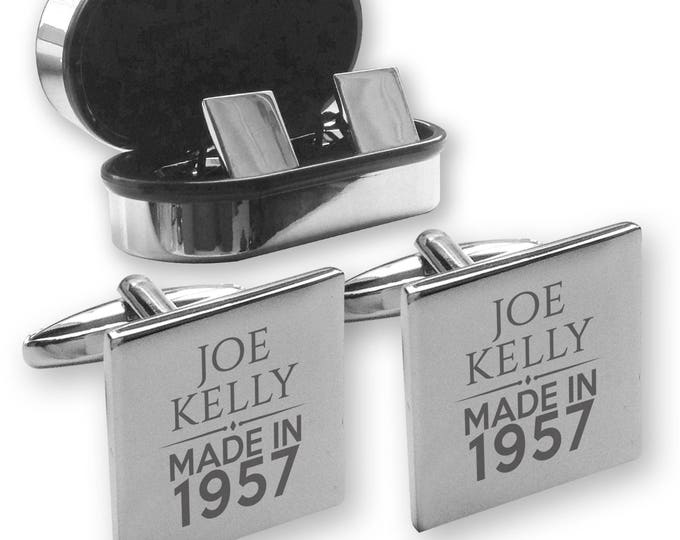 Personalised engraved 70TH BIRTHDAY cufflinks, in a chrome coloured presentation box, Made in 1947 - MAD70