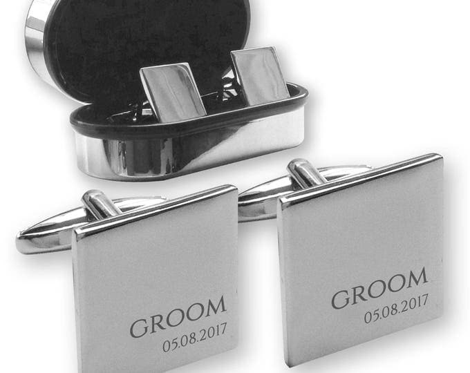 Personalised engraved GROOM wedding cufflinks, in a chrome coloured presentation box - RR8