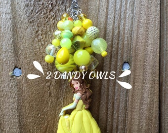 Belle Purse Charm, Beauty and the Beast Bag Charm, Purse Jewelry, Princess Charm