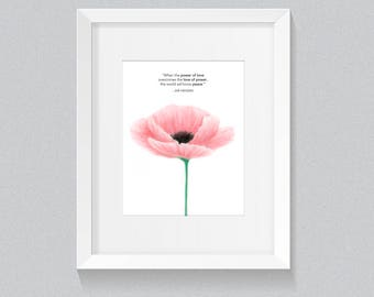 The Power of Love, Poppy Print, Peace Poppy, Digital Download, Poppy, Wall Art, Wall Decor
