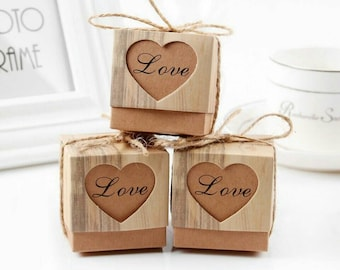100 Pieces Love Heart Candy Box Rustic Wedding Gifts Kraft Packing Box With Burlap Jute Ribbon Wedding Party Decoration