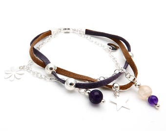 Silver and suede bracelet with charms of natural stone
