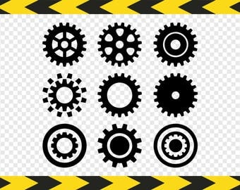 Gear Svg Mechanic Clipart Clock gears Files for Cricut Silhouette Pdf Dxf Png