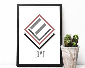LOVE Print, Art Love Quote, Inspirational, Wall Art Quote, Quote Print, Motivational Wall, Amazing Art Quote, Beloved Print, Geometric Print
