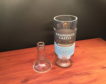 HANDCRAFTED Candle UP-CYCLED 750ML Knappogue Castle Irish Whiskey Bottle Soy Candle With/Without Pedestal Base. Made To Order !!!!!!!