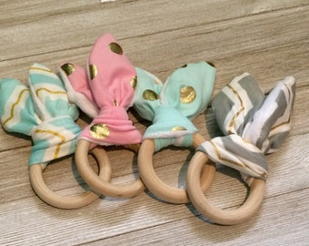 Large Organic Wooden Baby Teething Ring with Washable Cotton Ears and Crinkle Sound