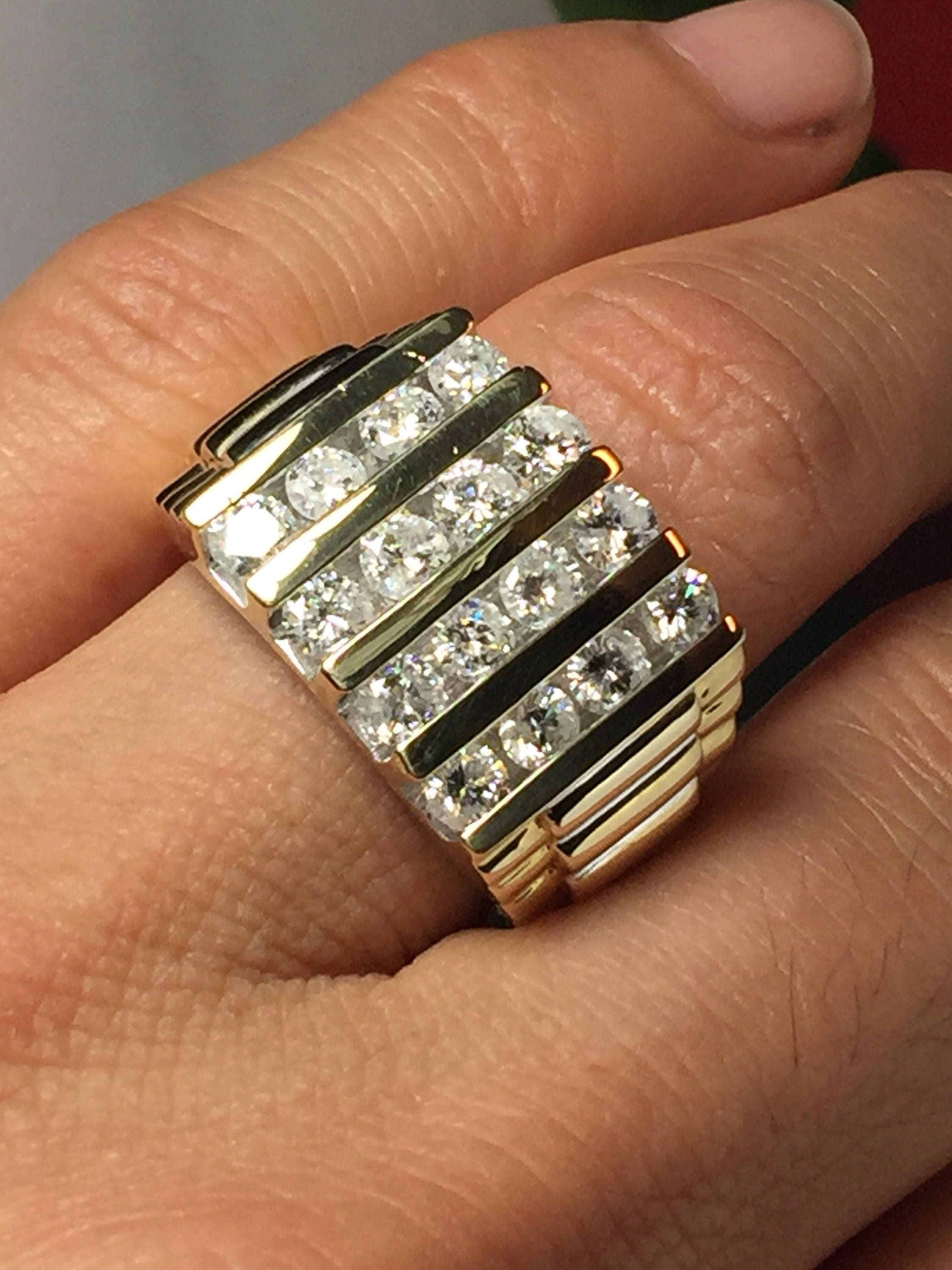 HUGE Rolex Ring Men Diamond Rolex Ring Man Gold Ring Men