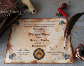 Personalized Hogwarts House certificate/diploma - Harry Potter - Ravenclaw