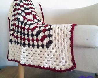 Granny square blanket, Throw, Crochet blanket, Homemade quilt, Bed cover, Patchwork quilt, Hippie Blanket, Boho blanket, Vintage,